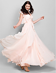 cheap -A-Line V-neck Ankle Length Chiffon Bridesmaid Dress with Cascading Ruffles by LAN TING BRIDE®
