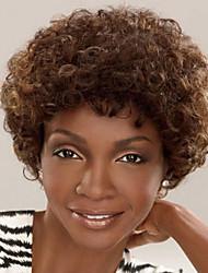 billige -Syntetiske parykker Krøllet Syntetisk hår Afro-amerikansk paryk Brun Paryk Dame Kort Lågløs