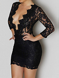 Women's Black Lace V-neck Mini Club Dress