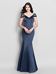 cheap -Mermaid / Trumpet V-neck Floor Length Satin Bridesmaid Dress with Pleats by LAN TING BRIDE®