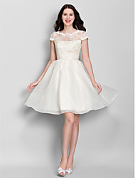 cheap -A-Line Scoop Neck Knee Length Lace Organza Bridesmaid Dress with Lace by LAN TING BRIDE®