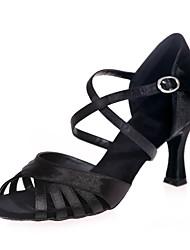 preiswerte -Schuhe für den lateinamerikanischen Tanz Satin Sandalen Keilabsatz Maßfertigung Tanzschuhe Silber / Braun / Rot / Leistung / Leder