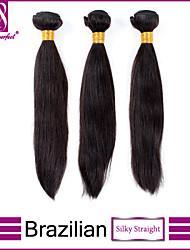 Недорогие -Бразильские волосы Классика Прямой силуэт Ткет человеческих волос 3 предмета Высокое качество 0.3 Повседневные