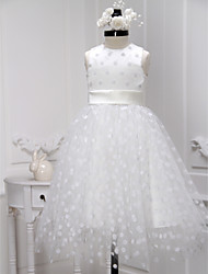 cheap -A-Line Knee Length Flower Girl Dress - Tulle Sleeveless Jewel Neck with Sash / Ribbon by LAN TING BRIDE®