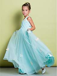 A-Line Floor Length Flower Girl Dress - Lace Sleeveless V-neck with Bow(s) Lace Criss Cross by LAN TING BRIDE®