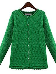 Longue Cardigan Femme Grandes Tailles Vintage,Couleur Pleine Beige Vert Col Arrondi Manches Longues Autres Toutes les Saisons Moyen