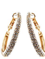 Brincos em Argola Moda Jóias de Luxo Europeu Cristal Prata Chapeada Chapeado Dourado imitação de diamanteFormato Circular Forma