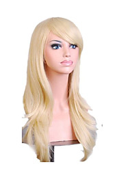 Capless Mix Color Long Length High Quality Natural Curly Hair Synthetic Wigs with Side Bang