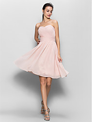 A-Line Sweetheart Knee Length Chiffon Bridesmaid Dress with Criss Cross by LAN TING BRIDE®