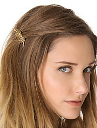cheap -Women Metal Golden Leaf Hairpin Side Folder Hair Accessories