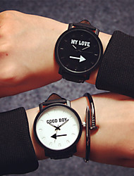 cheap -Men's Women's Couple's Quartz Wrist Watch Hot Sale Leather Band Word Watch Fashion