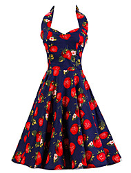 cheap -Women's Dark Blue Strawberry Pattern Floral Dress , Vintage Halter 50s Rockabilly Swing Dress