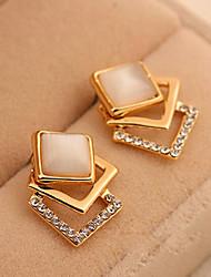 Earring Stud Earrings Jewelry Women Alloy / Rhinestone 2pcs Gold / White