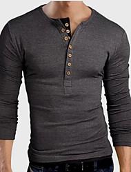 Herren T-shirt-Einfarbig Freizeit Baumwolle Lang-Schwarz / Blau / Grau