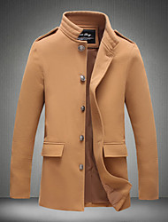 Men's Fashion Single-Breasted Solid Woolen Coat