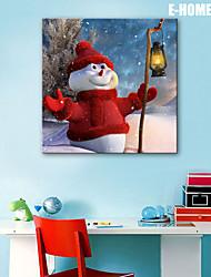 E-HOME® Stretched LED Canvas Print Art Snowman Christmas Series LED Flashing Optical Fiber Print One Pcs