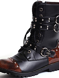 cheap -Men's Combat Boots Synthetic Spring / Fall / Winter Comfort 20.32-25.4 cm / 35.56-40.64 cm / Mid-Calf Boots Black / Wedding / Party & Evening