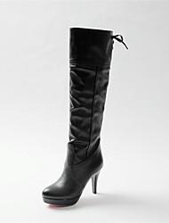 baratos -Mulheres Sapatos Courino Outono Inverno Salto Cone 35,56 a 40,64 cm Botas Cano Alto Cadarço para Casual Escritório e Carreira Social