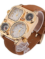 cheap -Men's Quartz Wrist Watch Dual Time Zones Leather Band Charm Khaki