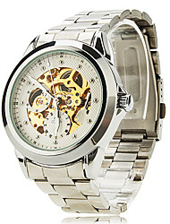 SHENHUA Herren Armbanduhr Mechanische Uhr Automatikaufzug Transparentes Ziffernblatt Edelstahl Band Silber Silber