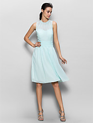 cheap -Sheath / Column Jewel Neck Knee Length Chiffon Bridesmaid Dress with Draping Ruching by LAN TING BRIDE®