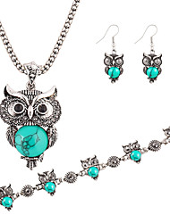 Brand Design Jewelry Sets Plating Silver Retro Turquoise Pendant Necklace Owl drop earrings Charm bracelet