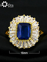 cheap -New 2015 Fashion Noble Blue Cubic Zirconia Gold Plated Lady Ring For woman&lady