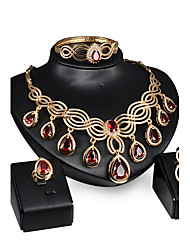 cheap -Synthetic Diamond Jewelry Set - Cubic Zirconia Statement, Vintage, Party Include Gold / Red For / Earrings / Necklace