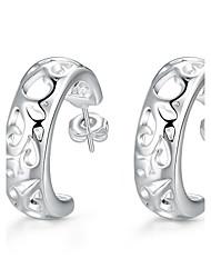 Brincos Curtos Brincos em Argola Esculpido Clássico Cobre Prata Chapeada Formato de Flor Prata Jóias Para Casamento Festa Diário Casual1