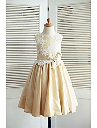 A-Line Knee Length Flower Girl Dress - Lace Taffeta Sleeveless Scoop Neck with Bow(s) Sash / Ribbon by LAN TING BRIDE®