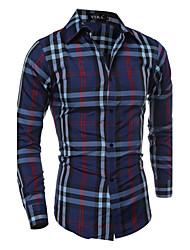 Camicia Uomo Casual A quadri Cotone / Poliestere Manica lunga Blu