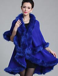 Недорогие -Для женщин На каждый день Зима Весна Осень Пальто Воротник шалевого типа,На каждый день Однотонный Обычная Без рукавов,Искусственный мех