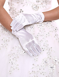 White Ladies' Elbow Length Glove Party/Evening Fingertips Glove Opera Length With DIY Pearls and Rhinestones
