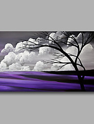 cheap -Ready to Hand Stretched Oil Painting Hand-Painted Canvas Wall Art Modern Trees Clouds Purple one Panel
