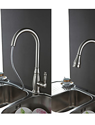 cheap -Traditional Pull-out/Pull-down Deck Mounted Pullout Spray Ceramic Valve Single Handle One Hole Nickel Brushed , Kitchen faucet
