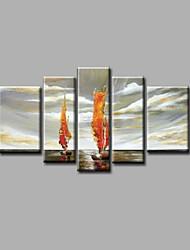 Недорогие -Ручная роспись Пейзаж Любые формы, Modern холст Hang-роспись маслом Украшение дома 5 панелей