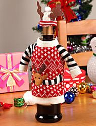 Недорогие -Санта оленей одежду и шляпу в крышки бутылки вина ткани рождества обеденный стол украшения партии (1 комплект)