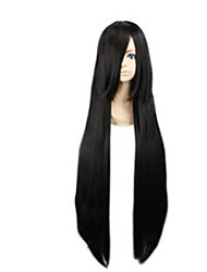 cheap -Capless Black Extra Long High Quality Natural Straight Synthetic Wigs