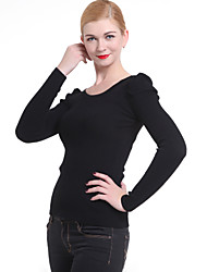 Normal Pullover FemmeCouleur Pleine Noir Col Arrondi Manches Longues Polyester Hiver Moyen Micro-élastique
