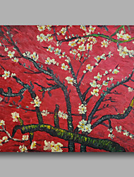 cheap -Ready to hang Stretched Hand-Painted Oil Painting Canvas Van Gogh repro Red Almond Blossom One Panel