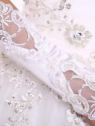 Elbow Length White Satin Bridal Gloves Fingerless Glove Flowers  Lace Party Evening Wedding Gloves With DIY Pearls and Rhinestones