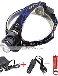 cheap -568-T6 01 Headlamps Headlight LED 2000 lm 3 Mode Cree XM-L T6 with Chargers Zoomable Adjustable Focus Rechargeable Waterproof Anglehead