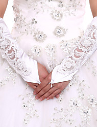DIY Pearls and Rhinestones With Elbow Length White Satin Bridal Gloves Fingerless Glove Flowers  Lace Party Evening Wedding Gloves