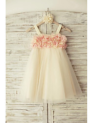 cheap -Sheath / Column Knee Length Flower Girl Dress - Tulle Sleeveless Straps with Flower by LAN TING Express