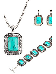 cheap -Big Square Turquoise Three-Piece Necklaces Bracelet And Earrings Set Retro Luxury Suite Crystal Jewelry Set