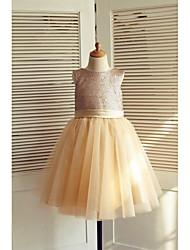 Vestido de menina de flor de joelho com uma linha de joias - cetim de lã com lã e lã de cetim com applique por thstylee