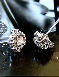 Brincos Curtos Punhos da orelha Cristal Chapeado Dourado imitação de diamante Formato de Flor Spot de Luz Multi-Colorida Dourado Jóias