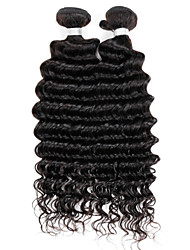 cheap -Brazilian Deep Wave Hair Extensions,Real Human Remy Virgin Hair Weave, Grade 7A, colour 1B