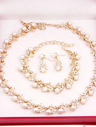 abordables -Juego de Joyas Moda Perla Chapado en Oro Forma de Cruz Blanco Para Fiesta Ocasión especial Cumpleaños Pedida Regalos de boda