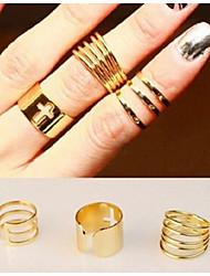 Conjunto de Jóias Anéis Meio Dedo Ajustável Liga Prata Dourado Jóias Para Festa Diário Casual 1 Conjunto